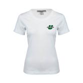Ladies White Stretch Scoop Neck-Spartans U