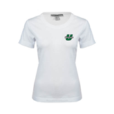 Ladies White Stretch Scoop Neck-Upstate U