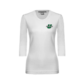 Ladies White 3/4 Sleeve Scoop Neck-Spartans U