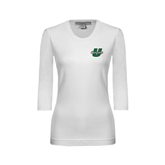 Ladies White 3/4 Sleeve Scoop Neck-Upstate U