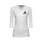 Ladies White 3/4 Sleeve Scoop Neck-Upstate w/Spartan Head