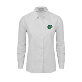 Ladies White Oxford Shirt-Upstate U