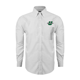 Mens White Oxford Long Sleeve Shirt-Spartans U