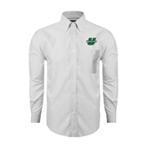 Mens White Oxford Long Sleeve Shirt-Upstate U