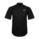 Black Twill Button Down Short Sleeve-Upstate U