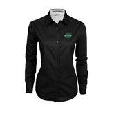 Ladies Black Twill Button Down Long Sleeve-Upstate U