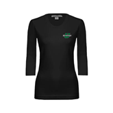 Ladies Black 3/4 Sleeve Scoop Neck-Spartans U