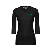 Ladies Black 3/4 Sleeve Scoop Neck-Upstate w/Spartan Head
