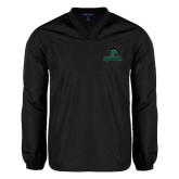 V Neck Black Raglan Windshirt-Upstate w/Spartan Head