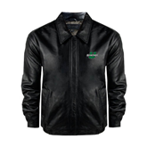 Black Leather Bomber Jacket-Spartans U
