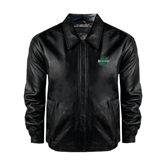 Black Leather Bomber Jacket-Upstate U