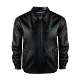 Black Leather Bomber Jacket-Upstate w/Spartan Head