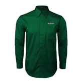 Dark Green Twill Button Down Long Sleeve-Spartans U