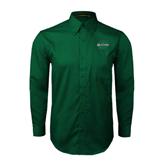 Dark Green Twill Button Down Long Sleeve-Upstate U