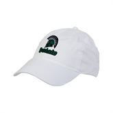 White Twill Unstructured Low Profile Hat-Upstate w/Spartan