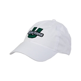 White Twill Unstructured Low Profile Hat-Spartans U Puffed