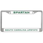 Metal License Plate Frame in Chrome-Spartans/ South Carolina Upstate