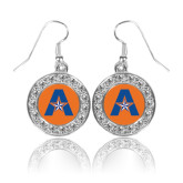 Crystal Studded Round Pendant Silver Dangle Earrings-A with Star