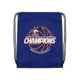 Royal Drawstring Backpack-2016-17 Regular Season Champions - Mens Basketball Lined Ball
