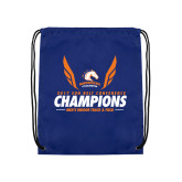 Nylon Royal Drawstring Backpack-2017 Sun Belt Champions - Mens Indoor Track and Field Wings