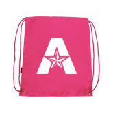 Nylon Pink Drawstring Backpack-A with Star