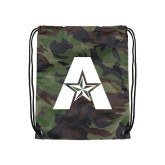 Nylon Camo Drawstring Backpack-A with Star