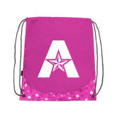 Nylon Pink Bubble Patterned Drawstring Backpack-A with Star