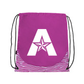 Nylon Zebra Pink/White Patterned Drawstring Backpack-A with Star