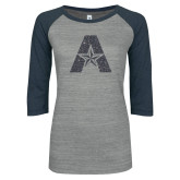 ENZA Ladies Athletic Heather/Navy Vintage Triblend Baseball Tee-A with Star Graphite Glitter