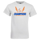 White T Shirt-2017 Sun Belt Champions - Mens Indoor Track and Field Wings