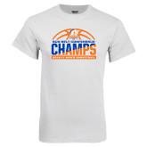 White T Shirt-2017 Mens Basketball Champions Stacked Baketball