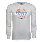 White Long Sleeve T Shirt-2016-17 Regular Season Champions - Mens Basketball Lined Ball