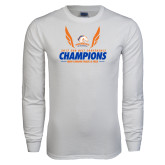 White Long Sleeve T Shirt-2017 Sun Belt Champions - Mens Indoor Track and Field Wings