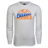 White Long Sleeve T Shirt-2017 Mens Basketball Champions Stacked Baketball