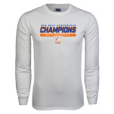 White Long Sleeve T Shirt-2017 Mens Basketball Champions Stacked