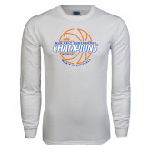White Long Sleeve T Shirt-2017 Mens Basketball Champions Basketball
