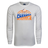 White Long Sleeve T Shirt-2016-17 Regular Season Champs - Mens Basketball Half Ball