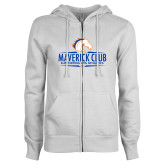 ENZA Ladies White Fleece Full Zip Hoodie-Maverick Club
