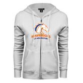 ENZA Ladies White Fleece Full Zip Hoodie-Mavericks