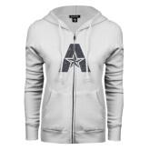 ENZA Ladies White Fleece Full Zip Hoodie-A with Star Graphite Glitter