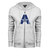 ENZA Ladies White Fleece Full Zip Hoodie-A with Star Dark Blue Glitter