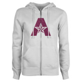 ENZA Ladies White Fleece Full Zip Hoodie-A with Star Pink Glitter