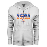 ENZA Ladies White Fleece Full Zip Hoodie-2016-17 Regular Season Champions - Mens Basketball Stencil