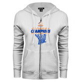 ENZA Ladies White Fleece Full Zip Hoodie-2016-17 Regular Season Champions - Mens Basketball Hanging Net