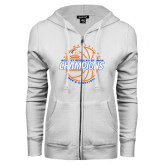 ENZA Ladies White Fleece Full Zip Hoodie-2016-17 Regular Season Champions - Mens Basketball Lined Ball