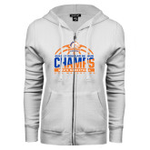 ENZA Ladies White Fleece Full Zip Hoodie-2016-17 Regular Season Champs - Mens Basketball Half Ball