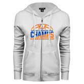 ENZA Ladies White Fleece Full Zip Hoodie-2017 Mens Basketball Champions Stacked Baketball