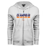 ENZA Ladies White Fleece Full Zip Hoodie-2017 Mens Basketball Champions Stacked
