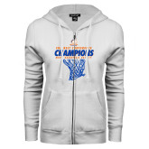 ENZA Ladies White Fleece Full Zip Hoodie-2017 Mens Basketball Champions Net