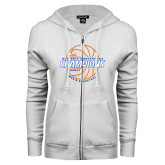 ENZA Ladies White Fleece Full Zip Hoodie-2017 Mens Basketball Champions Basketball